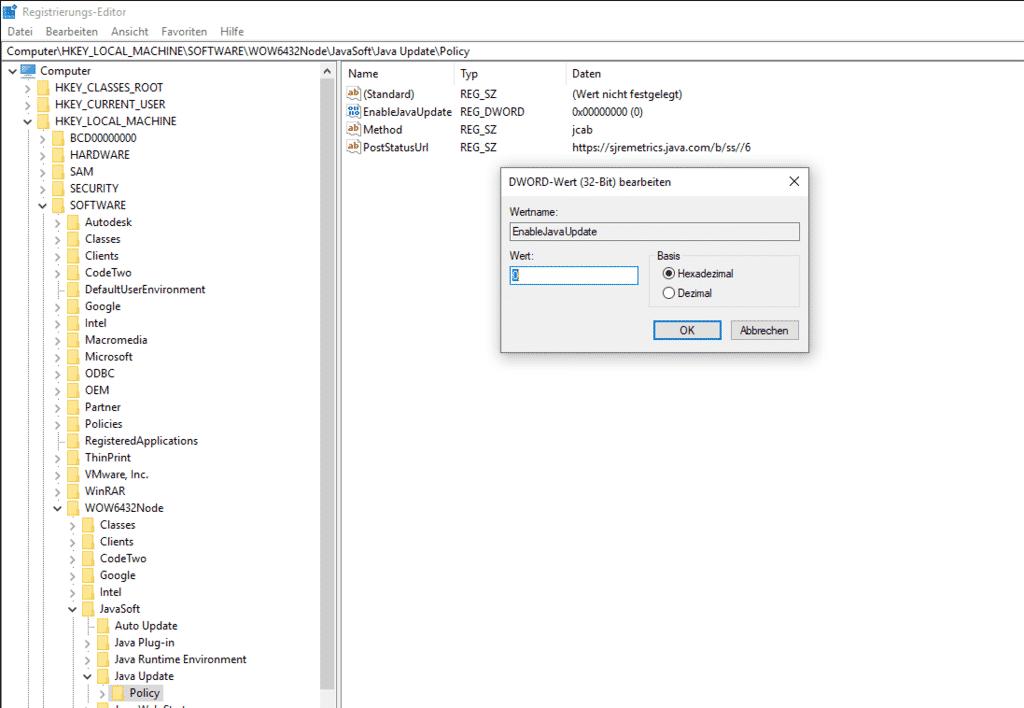 java update deaktivieren registry