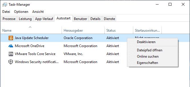 java update deaktivieren task manager autostart