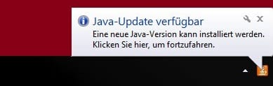 java update verfügbar taskleiste windows