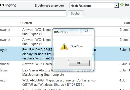 notes overflow error