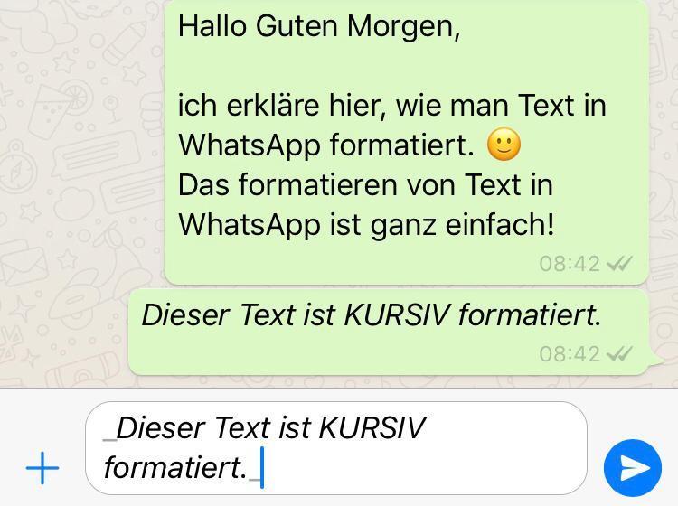 WhatsApp Text kursiv formatieren