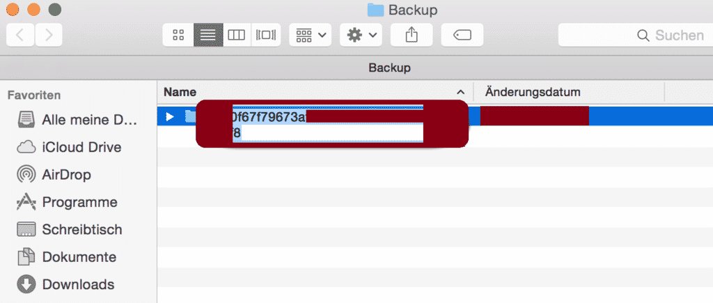 backup ID im finder