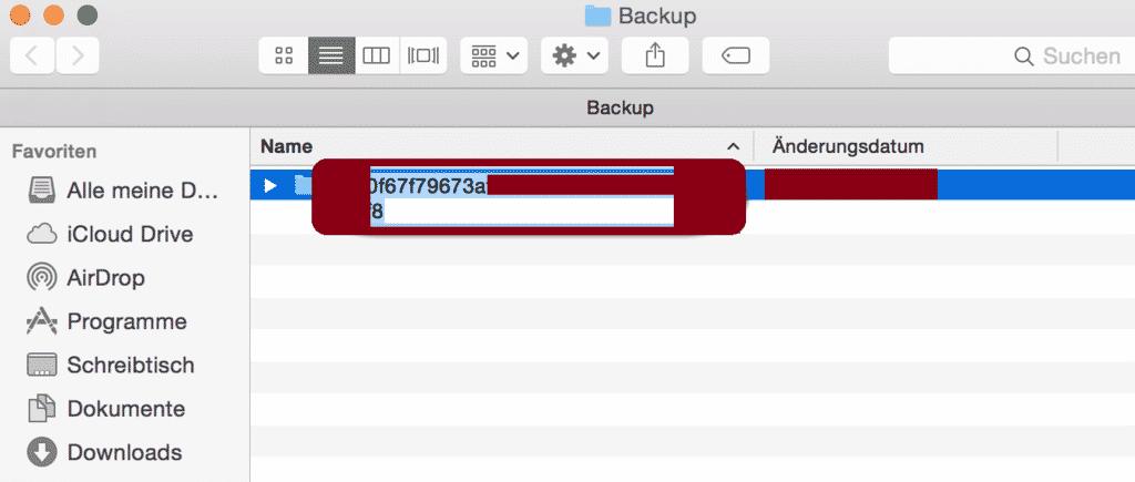 backup ID im finder