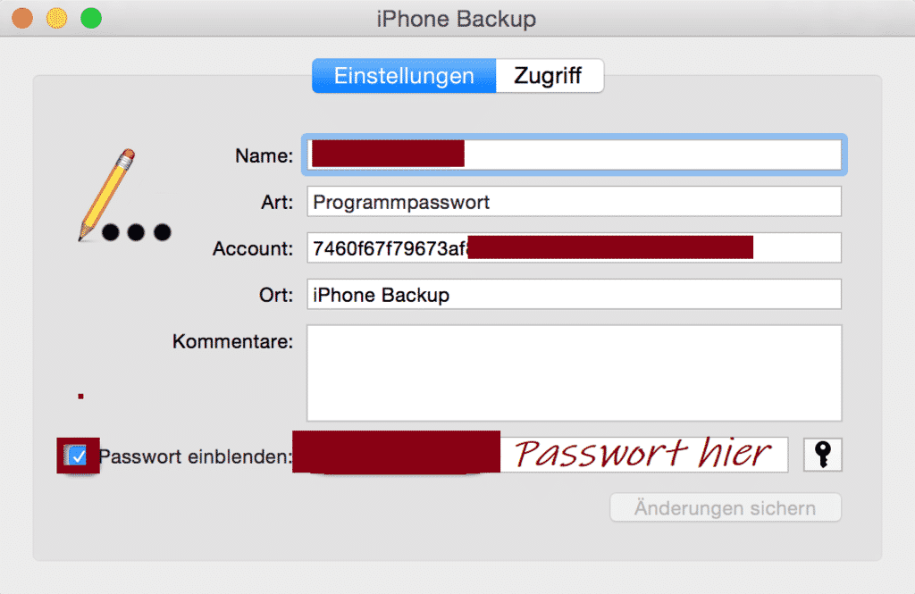 iphone backup kennwort passwort einblenden