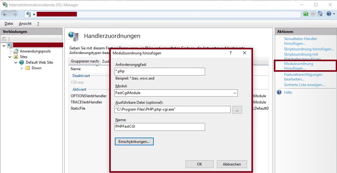 PHP installieren FastCgiModule
