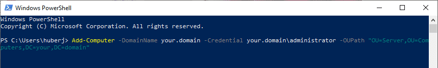 computer in domäne powershell OU