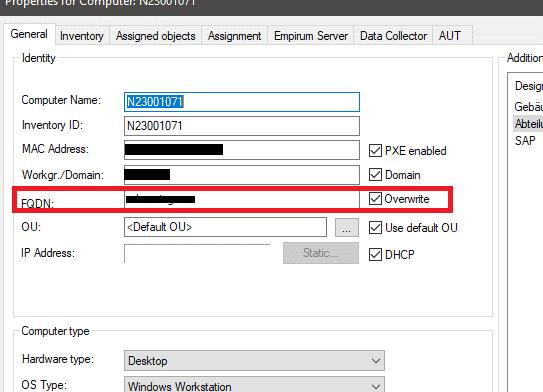 Empirum Domain Join Error Fehler FQDN