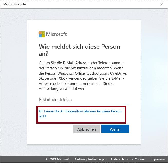 Benutzer hinzufügen Windows 10 Anmeldeiformationen