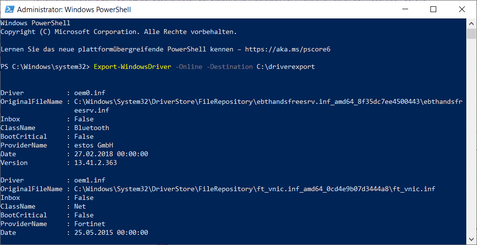 Windows Treiber exportieren PowerShell