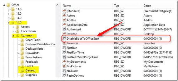 office Startbildschirm deaktivieren registry