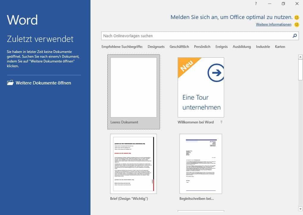 office Startbildschirm