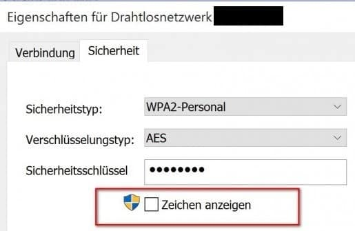 wlan passwort anzeigen Systemsteuerung