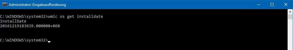 Installationsdatum auslesen Windows CMD