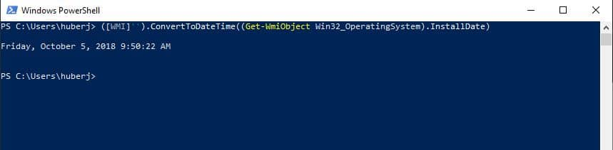 Installationsdatum auslesen Windows PowerShell