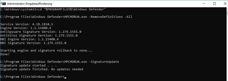 Windows Defender zurücksetzen