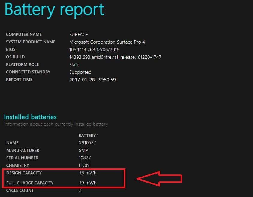 Akku Zustand Battery Report