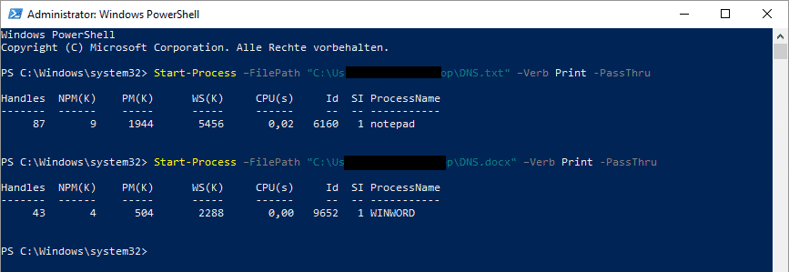 Dokument drucken PowerShell