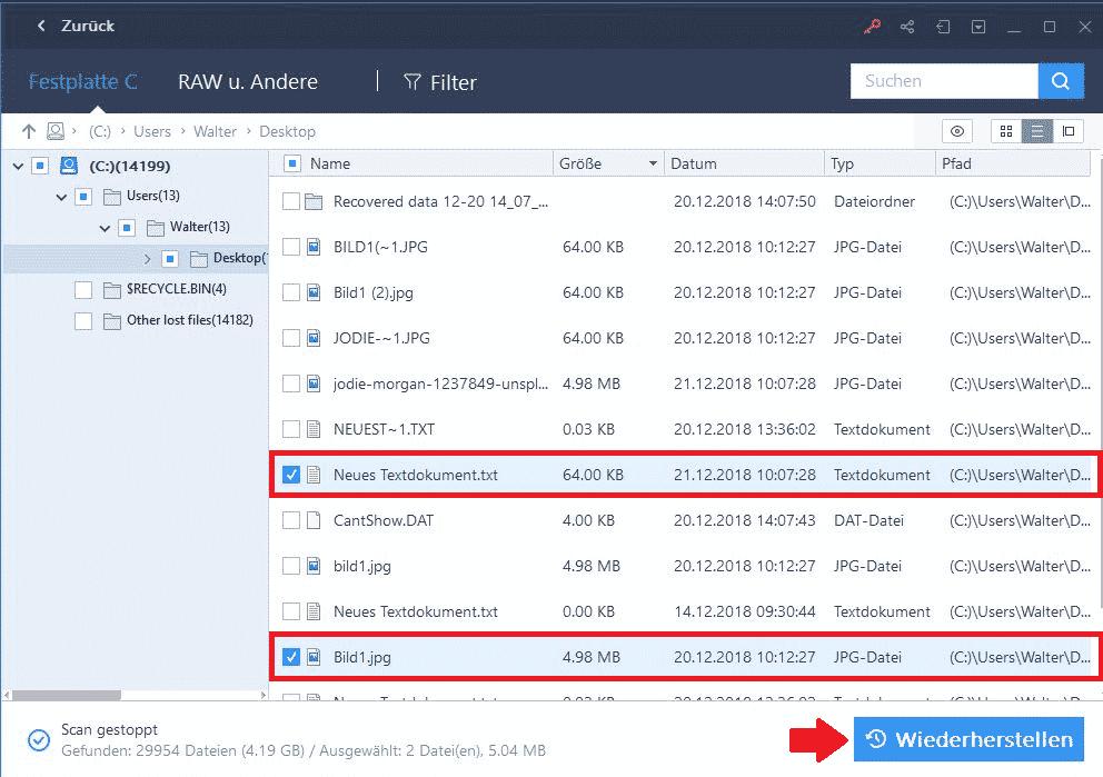 EaseUS Data Recovery Wizard gelöschte Dateien wiederherstellen