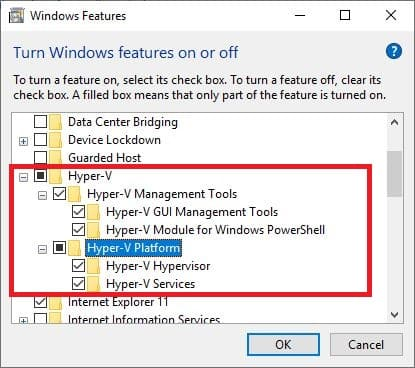 hyper-v aktivieren windows features