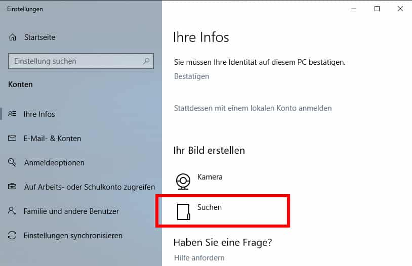 profilbild ändern windows 10