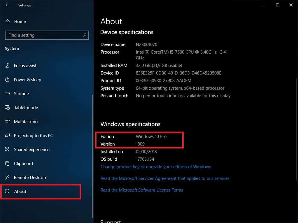 Windows 10 Version anzeigen Einstellungen