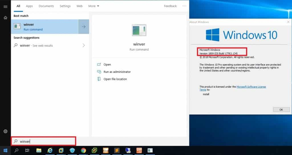 Windows 10 Version anzeigen WINVER