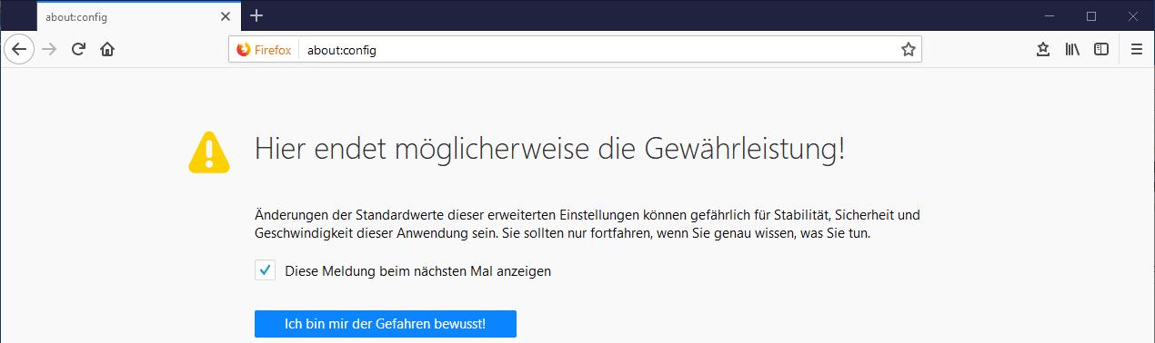 Firefox Lesezeichen automatisch sichern about:config