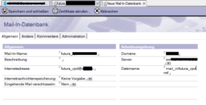Notes Mail-In Datenbank erstellen Details