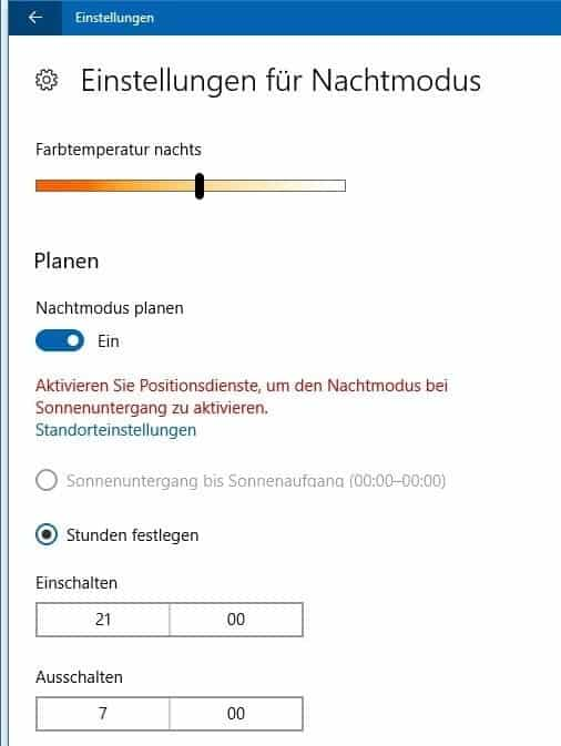 Nachtmodus Windows 10 planen