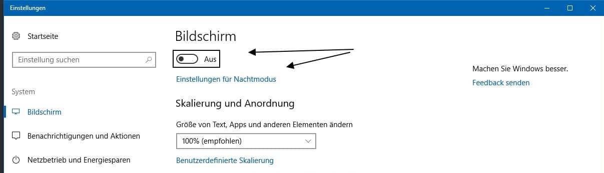 Nachtmodus Windows 10 Einstellungen