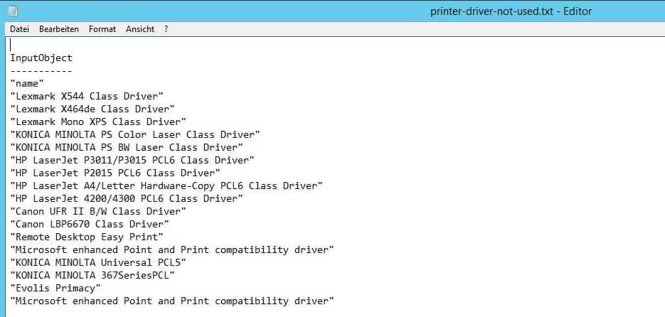 Nicht verwendete Druckertreiber anzeigen PowerShell Script