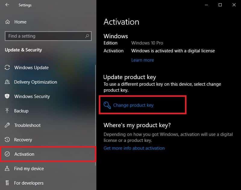 Windows 10 Lizenzschlüssel eingeben Einstellungen