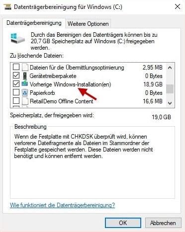 Windows.old löschen Datenträgerbereinigung