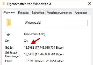 Windows.old Größe Speicherplatz