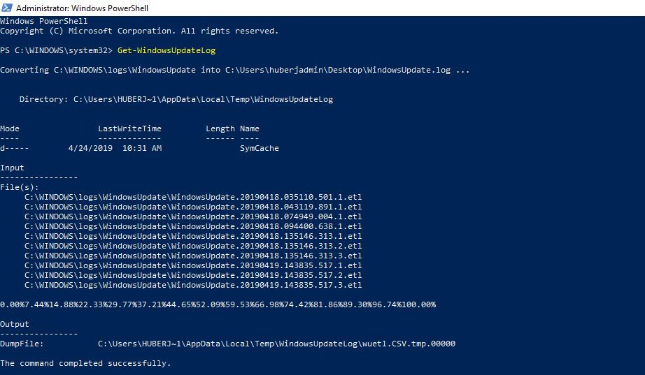 WindowsUpdate.log Windows 10 PowerShell
