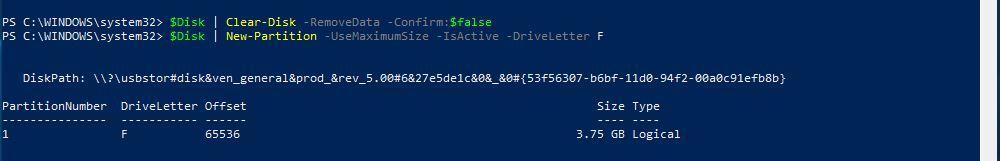 Bootfähigen USB Stick erstellen PowerShell Partition