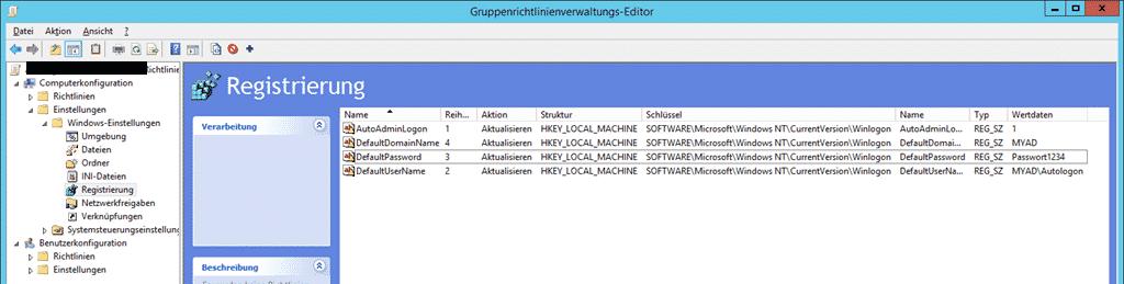 Domänen Benutzer automatisch anmelden Gruppenrichtlinie GPO Registry