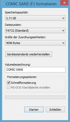 festplatte formatieren schnellformatierung