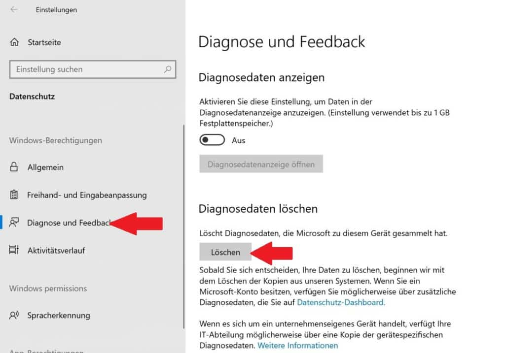 Windows 10 Diagnosedaten löschen
