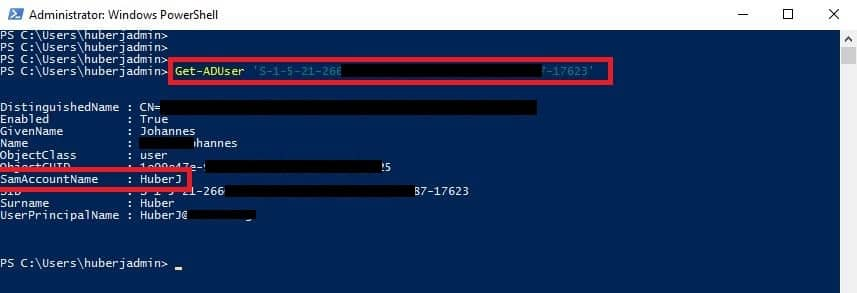 SID User Active Directory PowerShell