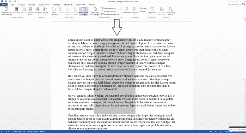 Text vertikal markieren Microsoft Word