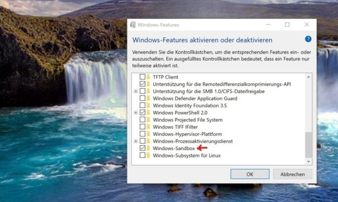 Windows 10 Sandbox aktivieren Programme Features