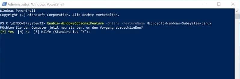 Windows Subsystem für Linux aktivieren PowerShell