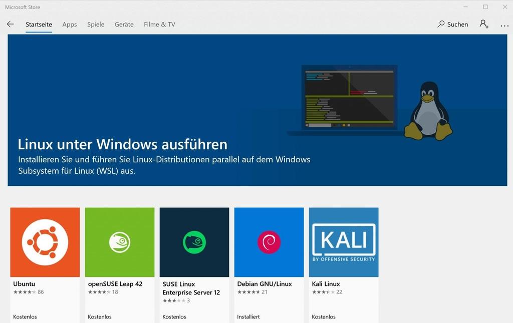 Linux unter Windows ausführen
