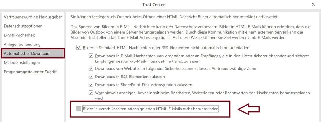 Externer Inhalt ist in sicheren Mails nicht zulässig trust center