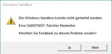 Windows Sandbox Fehler Error 0x80070057