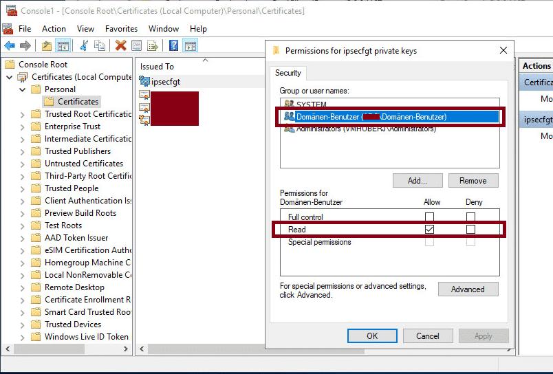 Zertifikat Berechtigung ändern mit PowerShell