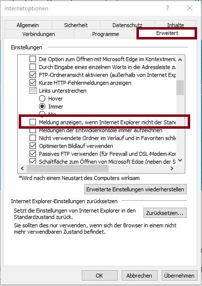 Meldung anzeigen, wenn Internet Explorer nicht der Standardbrowser ist