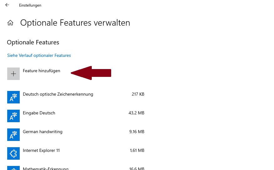 Windows 10 Optionale Features Einstellungen
