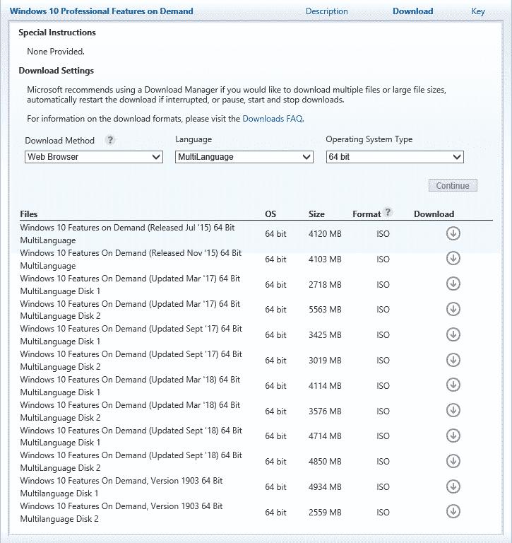 Windows Optionale Features offline ISO vlsc